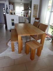 Esstisch-Garnitur massiv Holz Bank Loom-Stühle