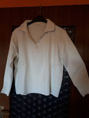 Winter-Pullover Gr 48 50 wollweiß