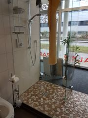 Duschabtrennung Glasscheibe Festteil mit Türe