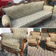 Barock Sitzgruppe Sofa und 2-Sessel