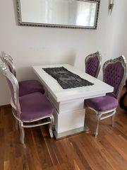 Esstisch verstellbar mit sechs Stühlen