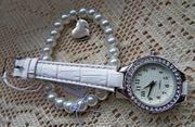 Schönes Set Elegante Damen-Armbanduhr Perlen-Armband mit