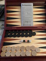 Backgammon Koffer Holz komplett top