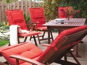 Gartenliege Holz mit Auflage rot