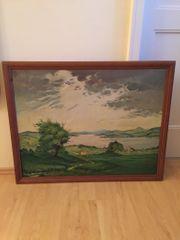 Ölbild Bayrischer See Landschaft auf