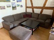 Eckcouch Sofa Hocker Tisch