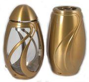 Exclusives Grabschmuck-Set bronzefarben Grablaterne Grabvase