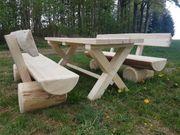 Holzbank Garnitur Massiv