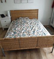 Ikea Bett Sundnes Rattan