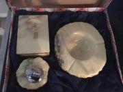 Vintage Alabaster Raucher Tisch Set