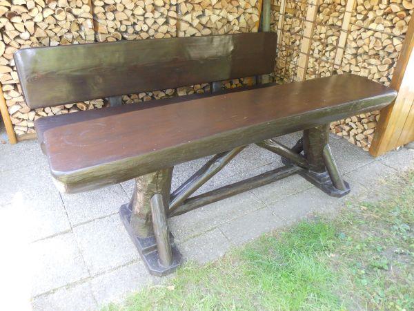 Gartenmöbel 1 Tisch 2 Bänke Holzgarnitur 3 Teile Baumstamm in ...