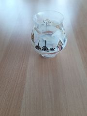 Kerzenhalter Teelichthalter Glas mit Wintermotiv