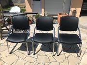 3 Stühle Leder schwarz Chrom