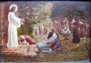 Ölgemälde Lupenmalerei auf Holz Jesus