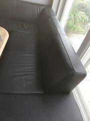 Couch Echtleder Schwarz L-Form Wohnlandschaft