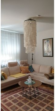Sandfarbene Couch L-Kombi mit Rekamiere
