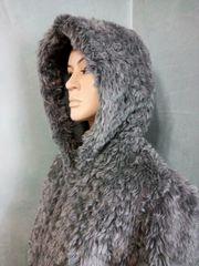 Webpelzjacke Dufflecoat Fake Fur grau