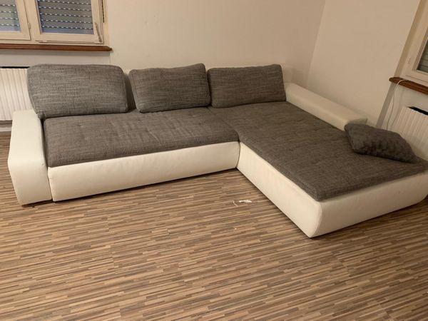 Sofa Stoff Grau Mit Weißen Leder In Höllenmühle Polster Sessel