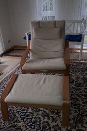 Poäng Ikea Sessel mit Fussteil
