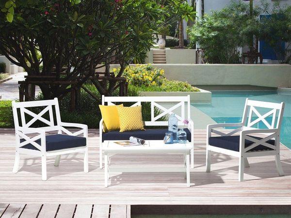Gartenmobel Set Holz Weiss 4 Sitzer Auflagen Blau Baltic Von Beliani