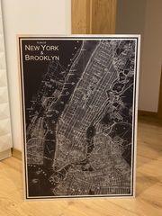Wandbild Landkarte New York Brooklyn