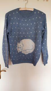Pullover m Katze gestrickt Unikat