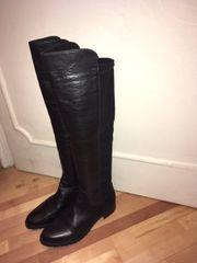 Overknee Stiefel schwarz Leder und