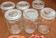 6 Weck-Gläser Einmachgläser 1 5