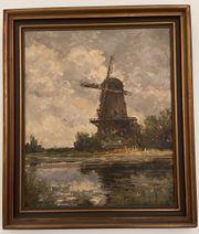 Altes Ölgemälde Windmühle am Seerosenteich