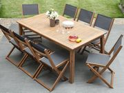 Gartenstuhl Holz Textilene dunkelgrau 2er