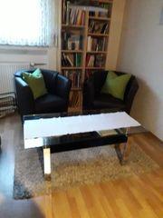 Glastisch mit Sessel