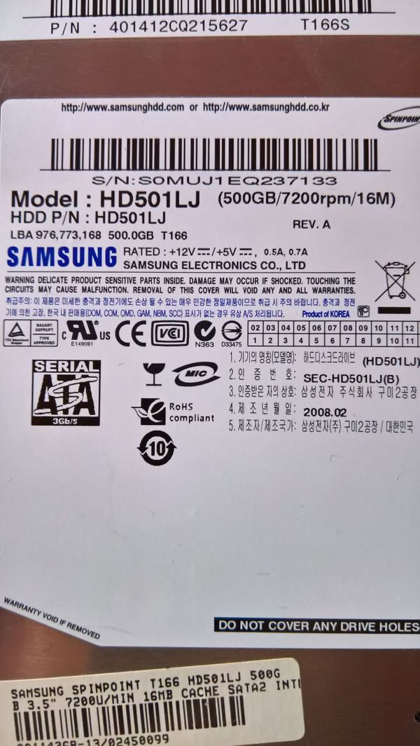 Samsung HD501LJ 500GB HDD