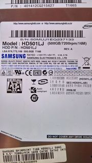 Samsung HD501LJ 500GB HDD