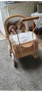 Rattan Puppenkinderwagen