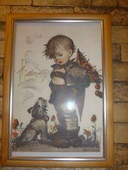 Wandbild Junge mit Hund