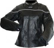 Damen Motorradjacke Rindsleder schwarz