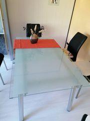 Esszimmer-Glastisch ausziehbar