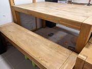 Tisch mit Bank aus Eiche