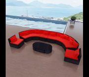 11-tlg Garten-Lounge-Set mit Auflagen Poly