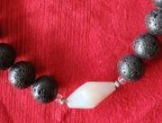 Kette- Halskette - Silber - Edelstein - Lava -