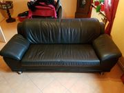 Couch Sofa Leder schwarz
