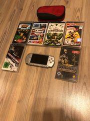PSP mit Spiele und Tasche
