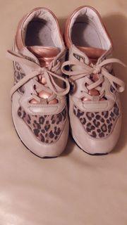 GEOX-Sneakerhalbschuhe alles Leder beige-leopard-gemustert mit