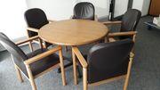 Besprechungstisch Konferenztisch Echtleder Stühle massiv