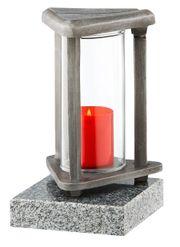 Moderne Grablampe auf Granitsockel Grablaterne