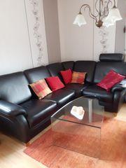 Wohnzimmer Leder- Couch Ecksofa