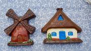Wanddeko Häuschen und Mühle