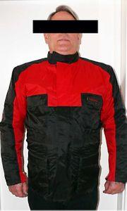 Motorradjacke rot schwarz mit Protektoren