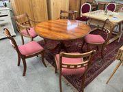 Antiker Esstisch mit Stühlen Mahagoni