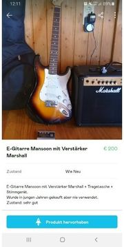 E-Gitarre Mansoon mit Verstärker Marshall